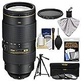 Nikon 80-400mm f/4.5-5.6G VR AF-S ED Nikkor-Zoom Lens with 3 UV/FLD/CPL Filters + Neutral Filter + Tripod + Kit for Digital SLR Cameras