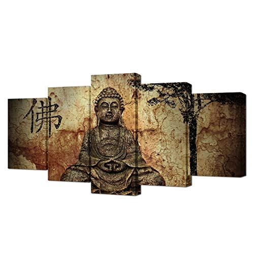 VVOVV Wall Decor - 5 Piece Wall Art Peaceful Buddha Statue Modern Home Decorative Painting Canvas Print Picture Vintage Zen Poster Frame Wall Decor For Living Room