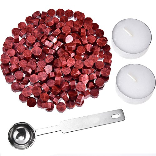 Hestya 230 Pezzi Ottagono Sigillo Perline di Cera Bastoncino con 2 Pezzi Candele del tè e 1 Pezzo di Cera di Fusione Cucchiaio per Stampo di Sigillo Cera (Vino Rosso)