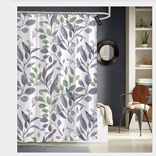 lovedomi Dusty Purple Sage Green Leaves Greenery Shower Curtain 3D Printing Waterproof Coated Polyester Fabric Bathroom with 12 Hooks 71 inches