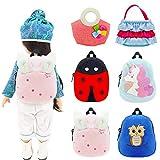 WEGUTATS 6 Pack Mini Backpack for 12 - 18 Inch Dolls, 4 pcs Doll Schoolbag Accessories with Zipper + 2 pcs Doll Handbag , for American Girl Dolls , 43 cm Newborn Baby Doll, 15 inch Bitty Baby Doll