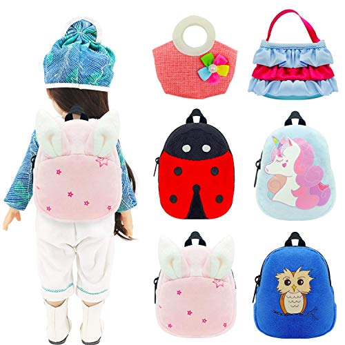 Topoloar Pack de 6 mini mochilas para muñecas de 12 a 18 pulgadas, diseño de dibujos animados