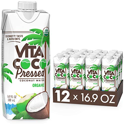 Vita Coco Organic Coconut Water, Pressed   More 'Coconutty' Flavor   Natural Electrolytes   Vital Nutrients   16.9 Fl Oz (Pack of 12)