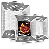 LeonYo 12' & 8' Grill Basket for Vegetables & Meat – 3PCS Heavy Duty Grill Utensils Set, Built to Last Stainless Steel Barbecue Grilling Accessories for All Grills & Smokers & Veggie, Grilling Gift