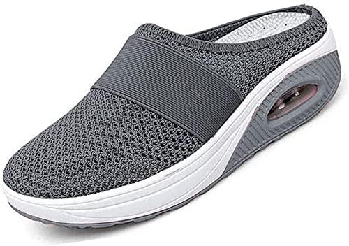 Women's Air Cushion Slip-On Walking Shoes - Orthopedic Diabetic Walking Shoes, Breathable Casual Outdoor Walk Sneakers (36,Dark Gray)
