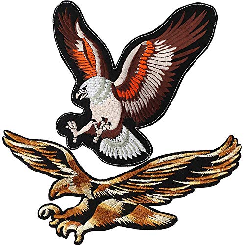 2 Pcs Lifelike Bear Eagle Spreads Wings Eagle Embroidery Patch,Eagle Cloth Stickers Patch Very Suitable for Hats, Bags, Clothing,Micro Chapter, Home Decor Etc Applique Patches Accessories
