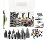 iLure Fishing Weights Sinkers Rig Bass Beads Bullet Sinkers Carolina and Texas and Fishing Beads Assorted and Jig Hook Kit 110PCS