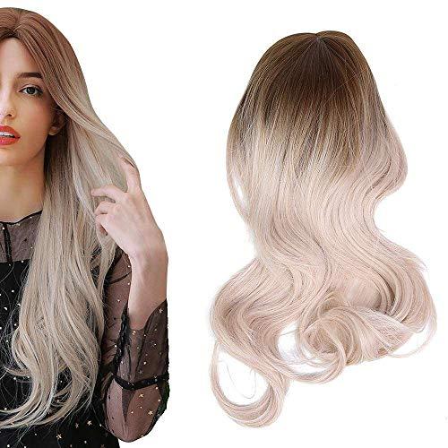 Yuyanshop Peluca larga rizada de oro blanco degradado para mujer, peluca delantera de encaje, resistente al calor, pelo sintético para mujer, color blanco, negro, fiesta, cosplay, 65 cm