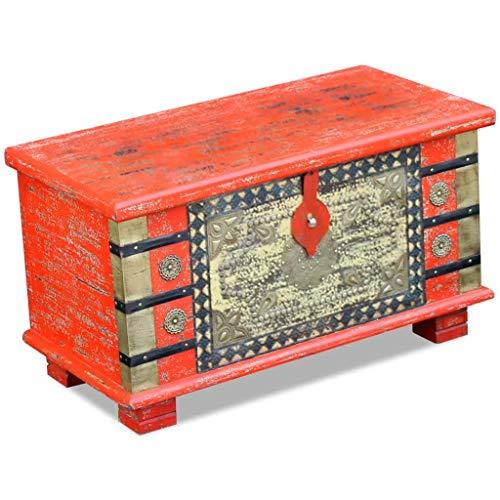 vidaXL Coffre de Rangement Table Basse Bois de manguier Rouge 80 x 40 x 45 cm