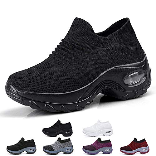 Funnie Women's Walking Shoes Sock Slip On Breathe Comfort Mesh Fashion Sneakers Air Cushion Lady Girls Modern Jazz Dance Shoes Platform Loafers, Black2, 7.5