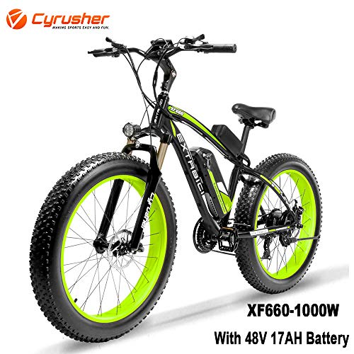 Cyrusher XF660 1000W Electric Mountain Bike 26inch Fat Tire e-Bike 21 Speeds Beach Cruiser Mens Sports Mountain Bike Full Suspension,48V 17AH Lithium Battery Hydraulic Disc Brakes(Green)