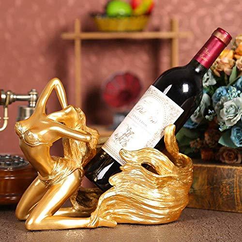 KANJJ-YU Oro Europeo Pelo Largo Femenino Vino Estante Decoración Resina Decoración Creativa Bandeja de Vino Decoración Simple Dormitorio Sala TV Gabinete Arte Vino
