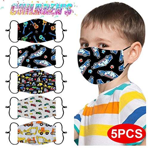 5 Stück Kinder Mundschutz Bunt-zurück zur Schule Montag bis Freitag -Kinder Mundschutz Baumwolle Mund und Nasenschutz Waschbar Wiederverwendbarer Mundschutz (G1, 5 Stück)
