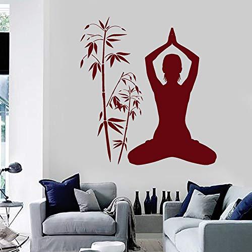 YuanMinglu Yoga Studio Art Wandaufkleber Buddhismus Meditation Renoviert Hauptlieferungsdekoration Weinrot 42x45cm