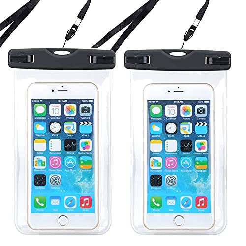 Crethink Caja impermeable del teléfono,Bolsa impermeable del teléfono de 2 piezas,Bolsa seca para nadar Snorkeling,Surfing