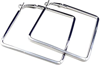Best square silver hoop earrings Reviews