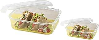 Borosil Microwavable Klip - N - Store Rectangular Dish with Lid - Set of 2 (1040, 370 ml)