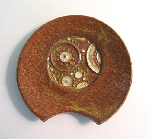 Handmade Pottery Spoon Rest Stamped Design