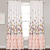 Lush Decor Lush Décor Flutter Butterfly Window Curtain Panel Pair Set, 84' x 52', Pink