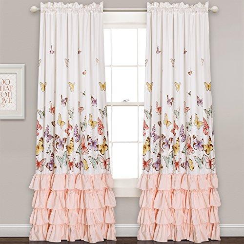 "Lush Decor 16T000813 Lush Décor Flutter Butterfly Window Curtain Panel Pair Set, 84"" x 52"", Pink"