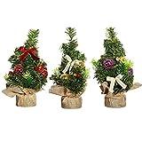 XONOR Árbol de Navidad Artificial de 3 Piezas de 20 cm de Altura con Adornos - Árbol de...
