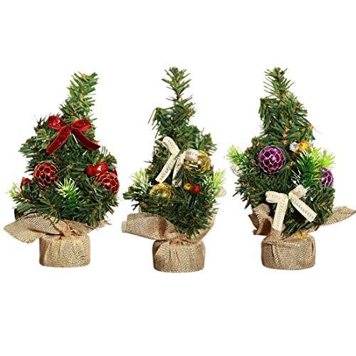 XONOR 3 Pezzi Mini Albero di Natale Artificiale con Ornamenti - Albero di Pino di Natale Alto 20 cm per la Tua casa, Ufficio, Tavolo e Top da Tavolo