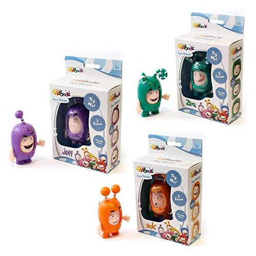 Oddbods Face Changers – Slick, Jeff & Zee – Figuras de juguete interactivas con expresiones animadas cambiantes – Juguetes para niños, juego de 3