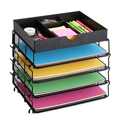 CAXXA 4 Pack Stackable Mesh Office Desk Supplies Organizer, Desktop File Letter Tray Holder with Adjustable Drawer Organizer, Black