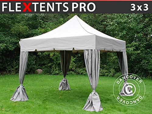Tente Pliante Chapiteau Pliable Tonnelle Pliante Barnum Pliant FleXtents Pro Peaked 3x3m Latte, avec 4 Rideaux decoratifs