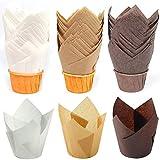 Moldes Magdalenas Papel,150 Pcs Moldes de papel para hornear Tulipán cupcake muffin taza Cupcakes moldes papel,para Boda Fiesta Cumpleaños Navidad