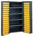 Edsal BC6202G 38-Inch Wide by 24-Inch Deep by 72-Inch High 96-Plastic Bin/Four-Shelf Welded Storage Cabinet, Grey/Yellow