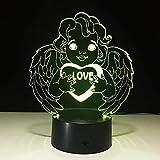 3D Nachtlicht Illusionslampe Love Angel 7 Farben Touch Switch Licht Raumdekoration Dekoration Tischlampe Schlafbeleuchtung Feiern Sie das Vatertagsgeschenk