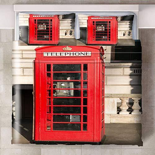 GJKIEB Funda nórdica Impresa en 3D Cabina de teléfono Blanco Rojo Negro a la Derecha Que No Decolora Microfibra,Funda de Nórdica Suaves y Cómodas 260cmx240cm 2 Fundas de Almohada:50cmx75cm