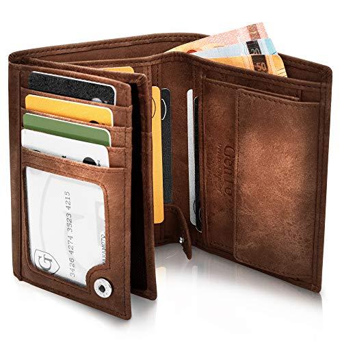 Oslo Große Geldbörse mit Münzfach - TÜV geprüfter RFID, NFC Schutz - geräumiges Portemonnaie - Geldbeutel für Herren und Damen - Portmonaise inkl. Geschenkbox (Dunkelbraun - Soft)