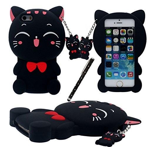 iPhone SE Carcasa Protectora, Cartoon Case 3D Encantador Kitty Gato Forma Gato Colgante Diseño Suave Silicona plastico Funda para Apple iPhone 5 5S 5C SE con 1 Lápiz óptico