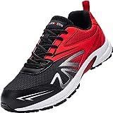 Zapatos de Seguridad Hombre,LM180105 SB SRC Zapatos de Trabajo con Punta de Acero Ultra Liviano Suave y cómodo Transpirable 46 EU,Rojo