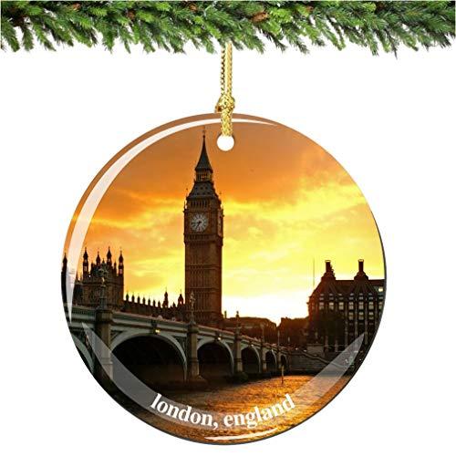 London Christmas Ornament, Porcelain 2.75' Double Sided Big Ben Christmas Ornament British Souvenir