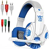 Gaming Headset with Mic and LED Light for Laptop Computer, Cellphone, PS4