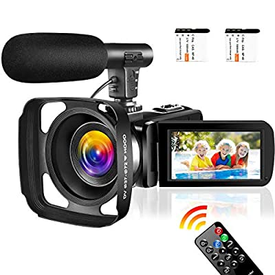 Video Camera Camcorder,Vlogging Camera for YouTube 1080P IR Night Vision Camcorders Camera Recorder 16X Digital Zoom Pause Function with Remote and Microphone from SAULEOO