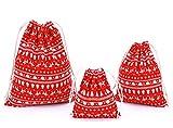abaría - Set de 3 Bolsas Navidad Tela - Bolsa de Regalo Organza con Cuerdas - Decoración Bolso para Festival - Ciervo