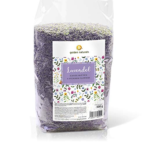 Lavendel Blüten essbar blau getrocknet 500g | 100{9e8c4fdfc82a36ded86c34771449c63f4b81cec9c9c09281215ce7999d9ce6ab} naturrein aromatisch duftend | Tee, Backen, Kochen, Deko| Golden Naturals by Golden Peanut
