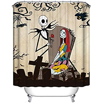 "Pumpkin King Jack /& Miss Sally Bathroom Decor Halloween Shower Curtain Set 71/"""