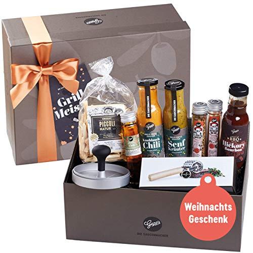 Gepp's Feinkost Deluxe Geschenkbox für Männer I Geschenkidee zu Weihnachten, zum Geburtstag I Gefüllt mit leckeren Saucen-Spezialitäten, Rubs, Grissini, Fleischzartmacher und Burgerpresse (A0019)…