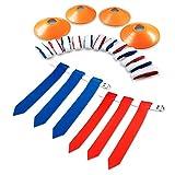 Stumptown Sportz 14球员国旗足球套装,每条腰带带有3个标志-包括12个场锥和网袋-优质68件重型装备包