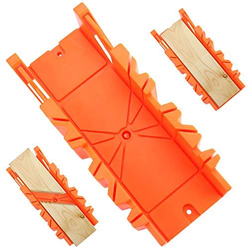"""FayTun Caja de ingletes de 12"""", caja de ingletes de sujeción duradera de múltiples ángulos para carpintería, bricolaje, decoración del hogar, artesanía, 300 mm x 90 mm x 50 mm - amarillo"""