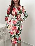 QMGLBG Vestido de Verano con Cremallera y Estampado Floral con Mangas para Mujer, Bolso de Manga Larga con Estampado de Cadera, Batas para Mujer
