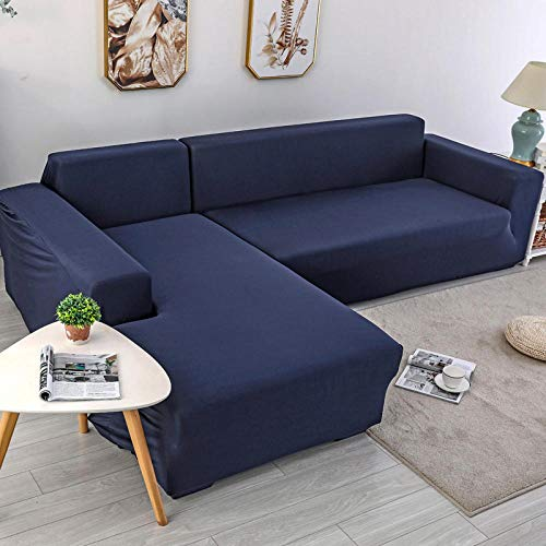 Hybad Fundas de Sofa Resistente al Agua,All-Inclusive Elastic Fabric Sofa Cover,Spring Summer Full Leather Couch Covers,Universal 1/2/3/4 Seater Sofa Saver Protector-Navy_2_Seater/Loveseat