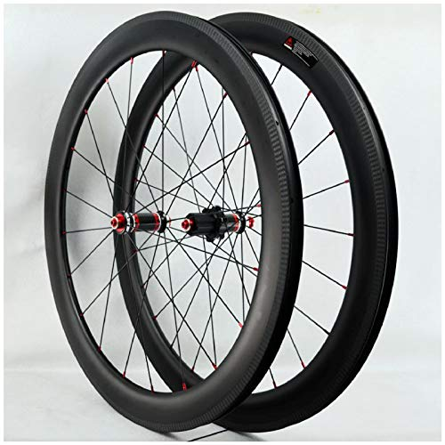 700C Fibra di Carbonio Ruote da Strada, Doppio Muro Cerchio per Bici Lega Alluminio Freno a V Ruota Corsa Bicicletta per 7/8/9/10/11 velocità Ruota (Colore : 40MM)