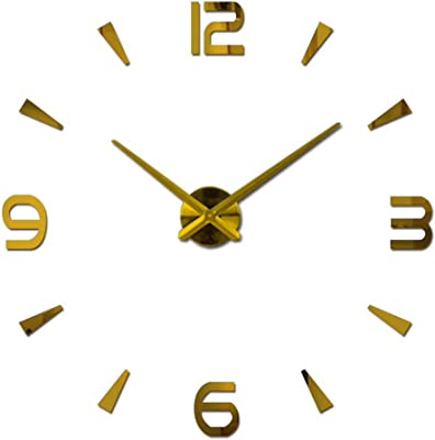 RUEbahl 3D DIY Acrylic Mirro Wall Clock Modern Minimalist Design Large Size Geometry Wall Clock for