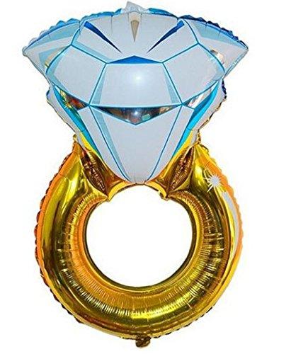 Premium MylarDiamond Ring 43 INCH Extra Large Romantic Balloon, Over Sized, Engagement Party, Bridal Shower, Wedding, Proposal & Vow Renewal (Diamond Ring)